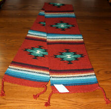 "Table Runner Handwoven Wool 10x80"" Southwestern Native American Design #2 D"