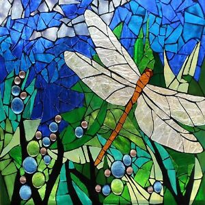 """DRAGONFLY STAINED GLASS INSPIRED COASTERS  SET OF 4 FABRIC TOP / RUBBER 1/4"""""""
