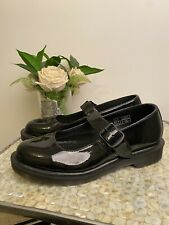 Dr Martens Mariel UK 7 EU 41 black patent Mary Jane buckle up shoes work school