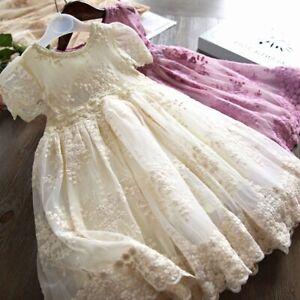 Childrens Kids Girls Elegant Formal Vintage Style Flower Embroidered Dress Gown