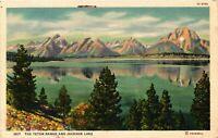 Vintage Postcard  - The Teton Range and Jackson Lake - Great Mountain View #1385