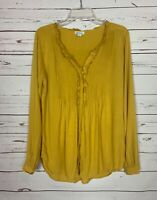 Sundance Catalog Women's Sz S Small Mustard Yellow Button Cute Top Blouse Shirt