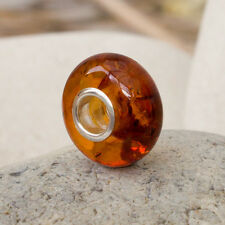 Cognac Colour Baltic Amber and Sterling Silver Bead Charm for European Bracelets