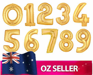 "Gold Foil Large Helium number balloon - 40 inch 40"" Birthday Party 0 1 2 3 4"