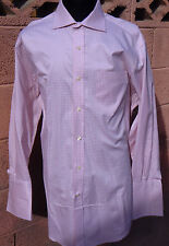 NEXT Luxury Superfine Cotton Mauve Check Shimmer Lilac 16/32 French Cuff Shirt