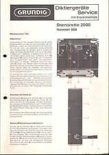 Grundig Service Manual für Stenorette 2000 mit NT 668