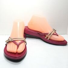 Women's Indigo by Clarks Pink Strappy Thong Leather Sandals Size 8 M