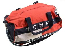 VTG 90s Tommy Hilfiger Red ColorBlock Spellout Cotton Canvas Gym Duffle Bag