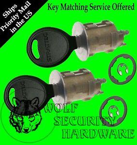 "Dodge Chrysler Jeep Door Lock Key Cylinder Pair 2 Keys *** 1 1/4"" dia face ***"