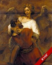 JACOB WRESTLING THE ANGEL OLD TESTAMENT PAINTING BIBLE ART REAL CANVAS PRINT
