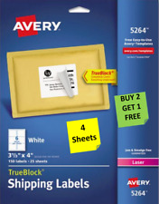 4 Sheets Avery 51645264 White Shipping Labels 3 13 X 4 Laser B2g1