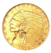 1914 Indian Gold Quarter Eagle $2.50 Coin - Certified NGC AU55 - Rare Coin!