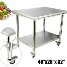 Rolling Stainless Steel Top Kitchen Work Table Cart Casters Shelving 40 X 28
