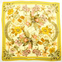 HERMES Scarf 90 Carre Silk Fleurs d'Hellade Flower Stole Yellow Beige Multicolor