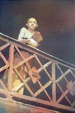 Painting of Cambodian monk at Wat in Phnom Penh.  Watercolor painting art print
