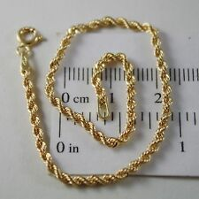 18K YELLOW GOLD BRACELET, BRAID ROPE LINK, 7.30 INCH LONG, MADE IN ITALY