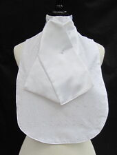 White Anglaise Bib with Integrated Ready Tied Faux Silk Riding Stock - dressage