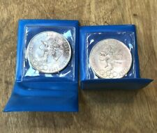 Lot of 2 Mexican Silver Olympic Peso coins 1968 25 peso Mexico City Canada