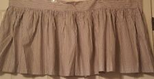 "Vtg Nancy Koltes King Dust Skirt Blue and Cream Pinstripe Three panels 80"" x 21"""