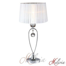 Lampe de table tissu cristal blanc chrome 1x40w LUMINAIRE LAMPE TABLE