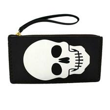 White Skull on Black Wristlet Wallet Coin Purse Pouch Gothic Punk Rock