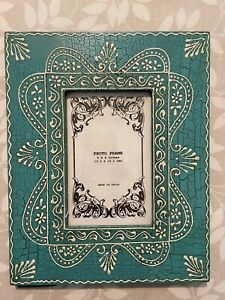 """Turquoise  Hand Crafted, Painted Wooden Photo Frame, Photo size 4""""x6"""""""