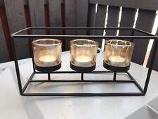 Centrepiece Iron Votive Tea Light Candle Holder 3 Cup Rectangular Ornament