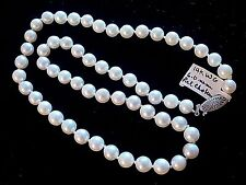 """GENUINE PEARL NECKLACE 6MM FINE MATCHED 16"""" STRAND-14K WHITE GOLD FILIGREE CLASP"""