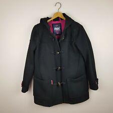 Superdry Jacket Coat Womens Size M Black Duffle Wool Blend