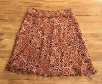Ann Taylor Womens Size 6 Silk Paisley A-line Career Skirt Tan Beige Maroon Lined