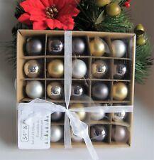 "Blown Glass Gold Silver Charcoal Christmas Mini Balls Ornaments Set of 25 1.25"""