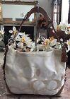 Coach Signature Cream/Ivory Duffle Hobo Shoulder Bag Purse 11962 EUC, Rare! $348