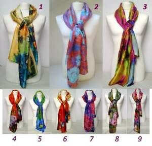 Woman Luxury Fashion 100% Silk Floral Pattern Printed Scarf - Perfect Gift UK