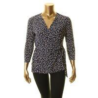 ANNE KLEIN NEW Women's Dot Print Faux Wrap Blouse Shirt Top TEDO