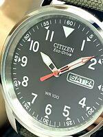 Citizen Men's Watch BM8180-03E Eco-Drive Black Dial Day Date 37mm Canvas Strap