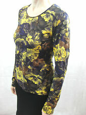 Kenzo Size 40 or 12 Brown Mustard Floral Long Sleeved Top