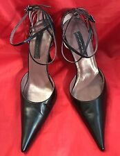 Steve Madden Black Leather Ankle Strap Pointy Toe Patent Leather Heels SZ9.5 M
