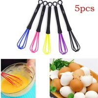 5pcs Mini Whisk Egg Beating Metal Silicone Head Kitchen Mixer Hand-Held Gadget