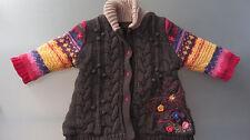 CATIMINI  TBE belle veste manteau 6 mois, doublée polaire, fleurs brodées