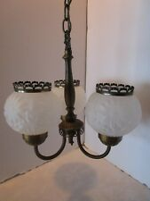 "Antique brass 3 arm light fixture embossed glass shades chandelier Petite 12¾"" T"