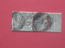 """Lot #564 Victoria 1891 £1 Green Used Perfin """"CL"""" SG212 (1)"""