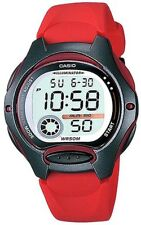 Casio Ladies Digital LED Light Sports Red Rubber Strap Alarm Watch LW-200-4AVDF