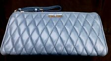 Miu Miu Blue Grey Quilted Authentic Leather Clutch Bag New no tags