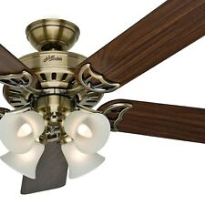 "52"" Hunter Ceiling Fan, Antique Brass - 4-Light Fixture w/ Frosted Shades"