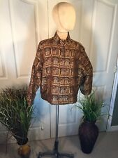 Chicos Embroidered Silk Cotton Floral Jacket Size 3 Button Up