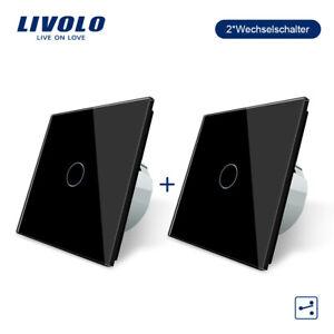 LIVOLO  Wechselschalter Touch Glas Kreuzschalter  mit Anzeige in Schwarz 2 PCS