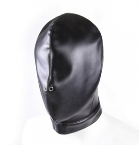 FULL HEAD BONDAGE HOOD Sensory Deprivation Blindfold BDSM Gimp Nose Mask Sub SM