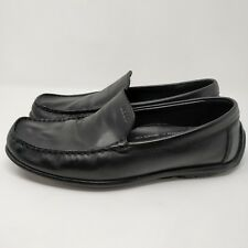 ECCO Driving Shoe Men's 45 Black Leather Slip-On Loafers Wide
