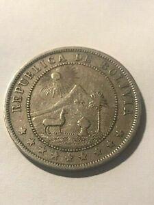 1902 Bolivia 10 Centavos VF #15595