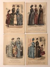 4 ANTIQUE VICTORIAN FASHION PLATE PAGES FROM JOURNAL DES DEMOISELLES COLOR 1880s